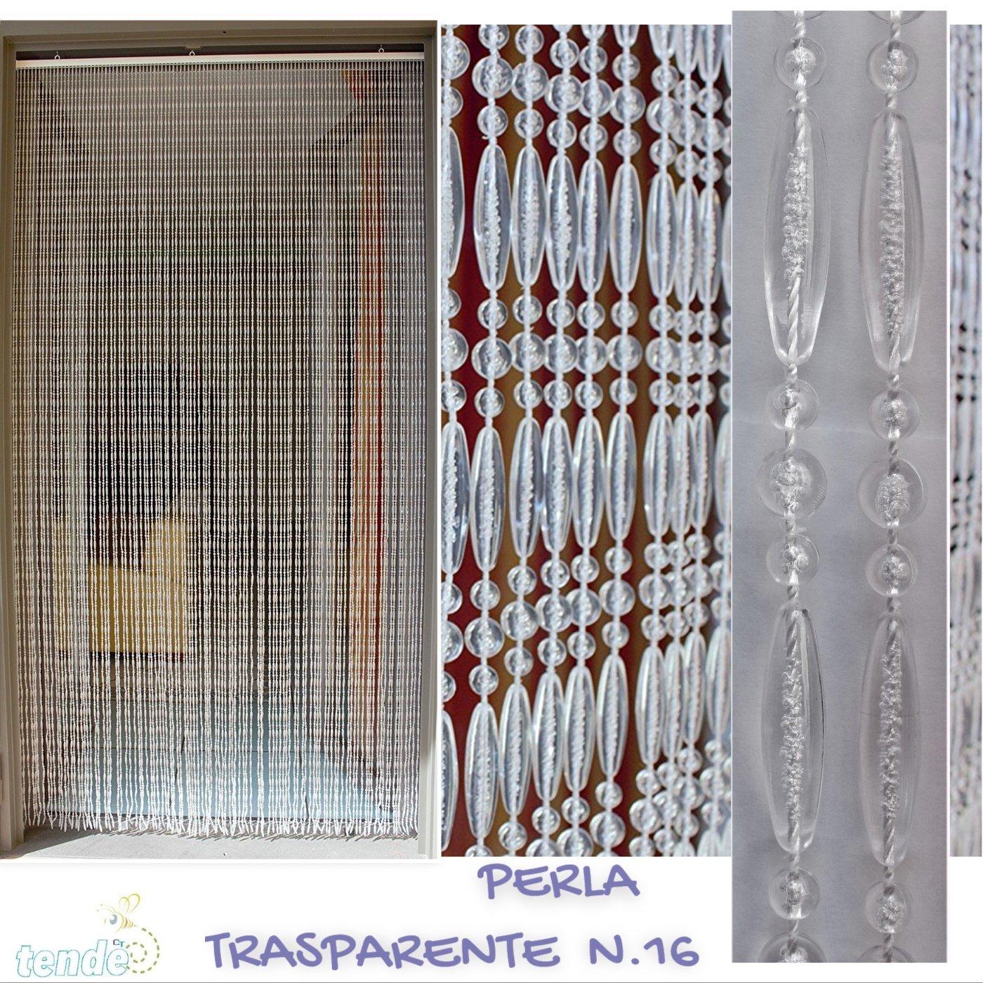 PVC-Türvorhänge Modell Perla - Eichmaß 100X220   120X230   130X240   150X250 - Fliegenvorhang - Kunststoff-Vorhänge (120X230, Transparent weiß)