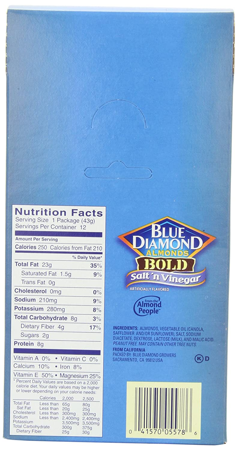 Blue Diamond Almonds Bold Salt Vinegar 15 Ounce Roasted Barbecue 130 Gr Pack Of 24 Snack Grocery Gourmet Food