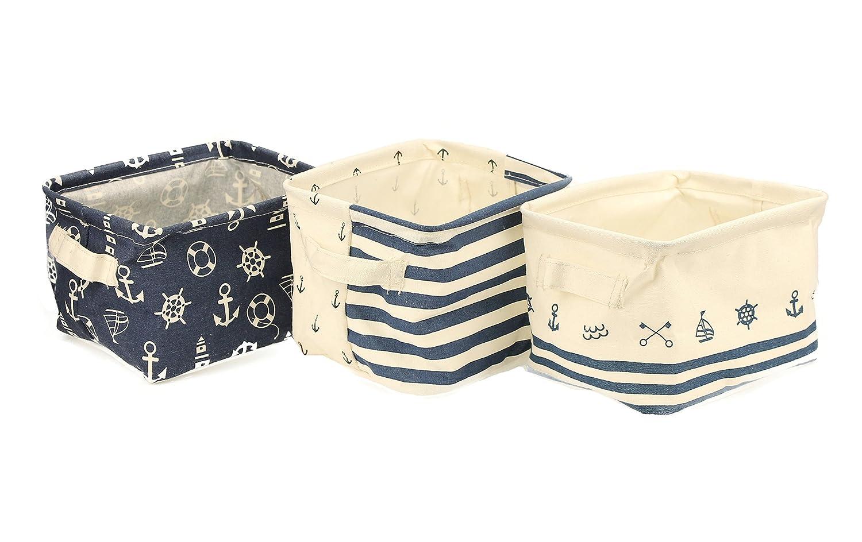 Foldable Cotton Blend Linen Storage Bins with Handles Navy Blue Anchor Nusery Storage Baskets Waterproof Toy Organizer Fits Shelves Drawer Desks, Set of 3 Orino
