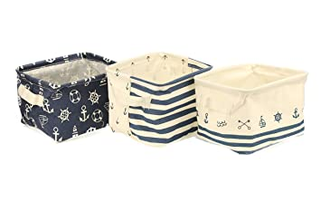 Orino waterproof Nursery Nautical Fabric Small Storage Baskets Beach Anchor Theme collapsible portable storage Bins with  sc 1 st  Amazon.com & Amazon.com : Orino waterproof Nursery Nautical Fabric Small Storage ...