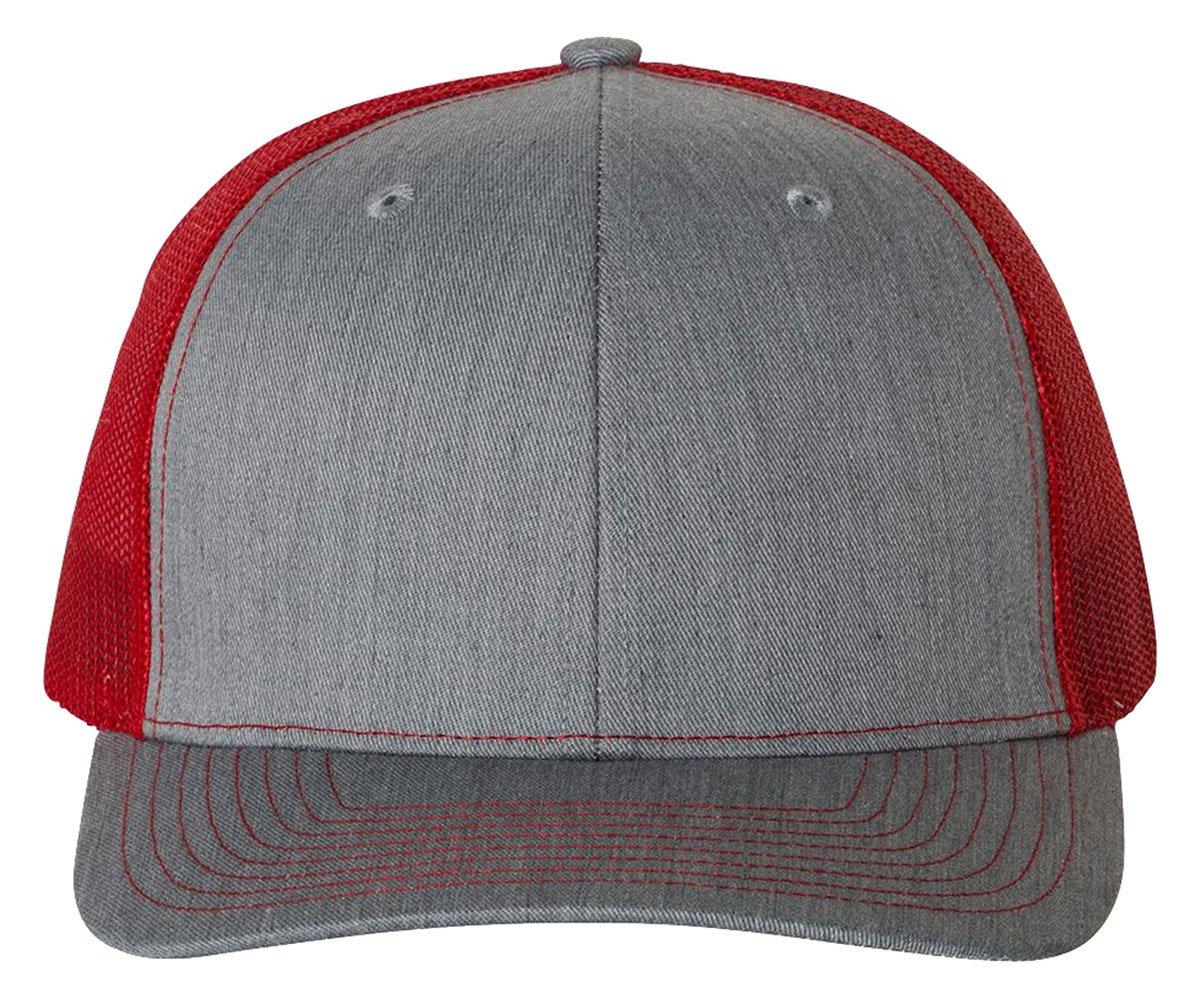 Richardson 112 Heather Grey/Red Mesh Back Trucker Cap Snapback Hat