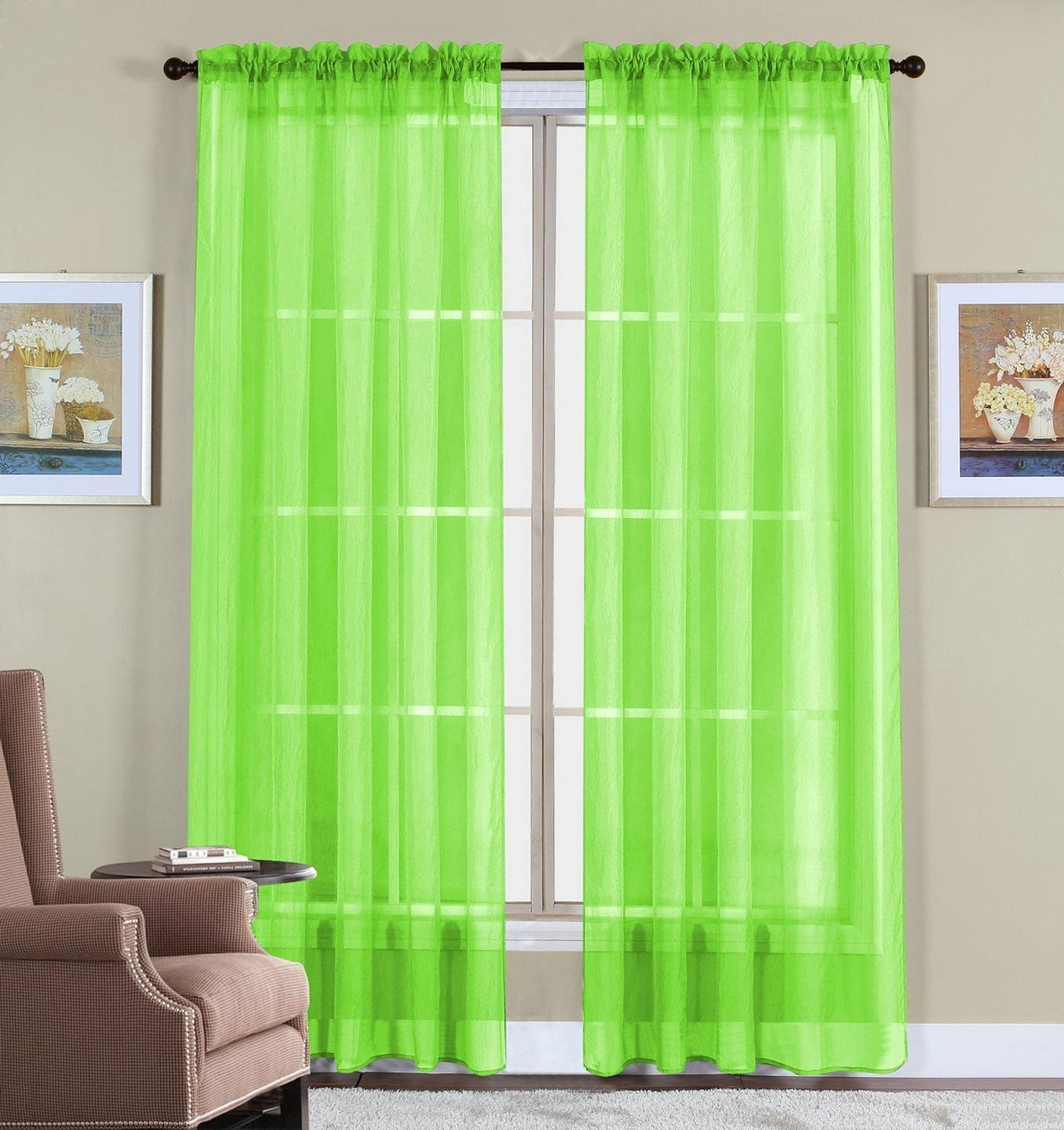 Window Elegance Curtains/drape/panels/treatment, Lime Green