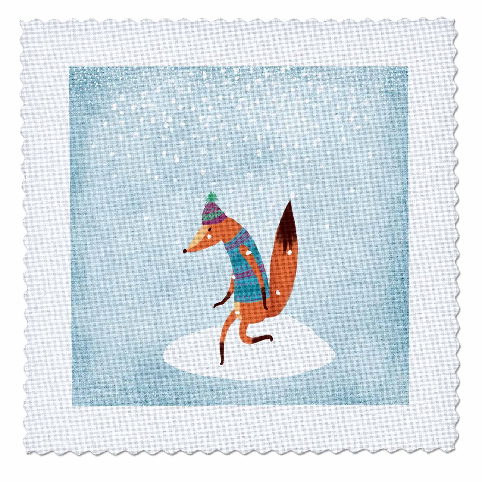 3dRose Uta Naumann Watercolor Illustration Animal - Cute Animal Illustration of a Fox in Winter Snow- For Children - 16x16 inch quilt square (qs_269052_6)