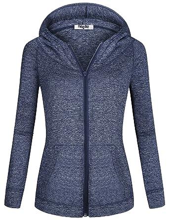 647c6637546ca7 Hibelle Women s Long Sleeve Zip-up Thin Sports Hoodie Sweatshirts ...