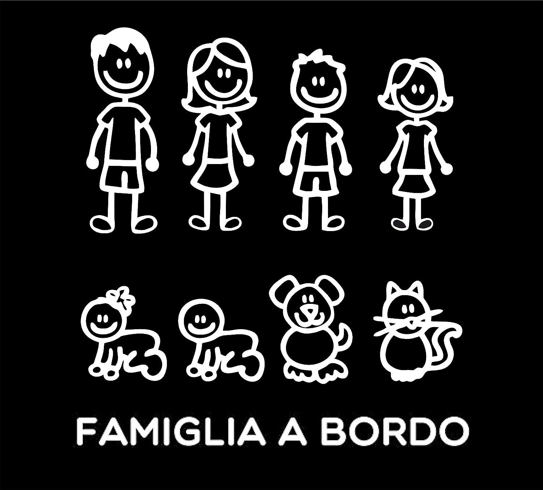 Pegatinas Familia – Juego completo – Familia a bordo –Color:Blanco – Family Stickers (Pegatinas Familia) para cristal coche