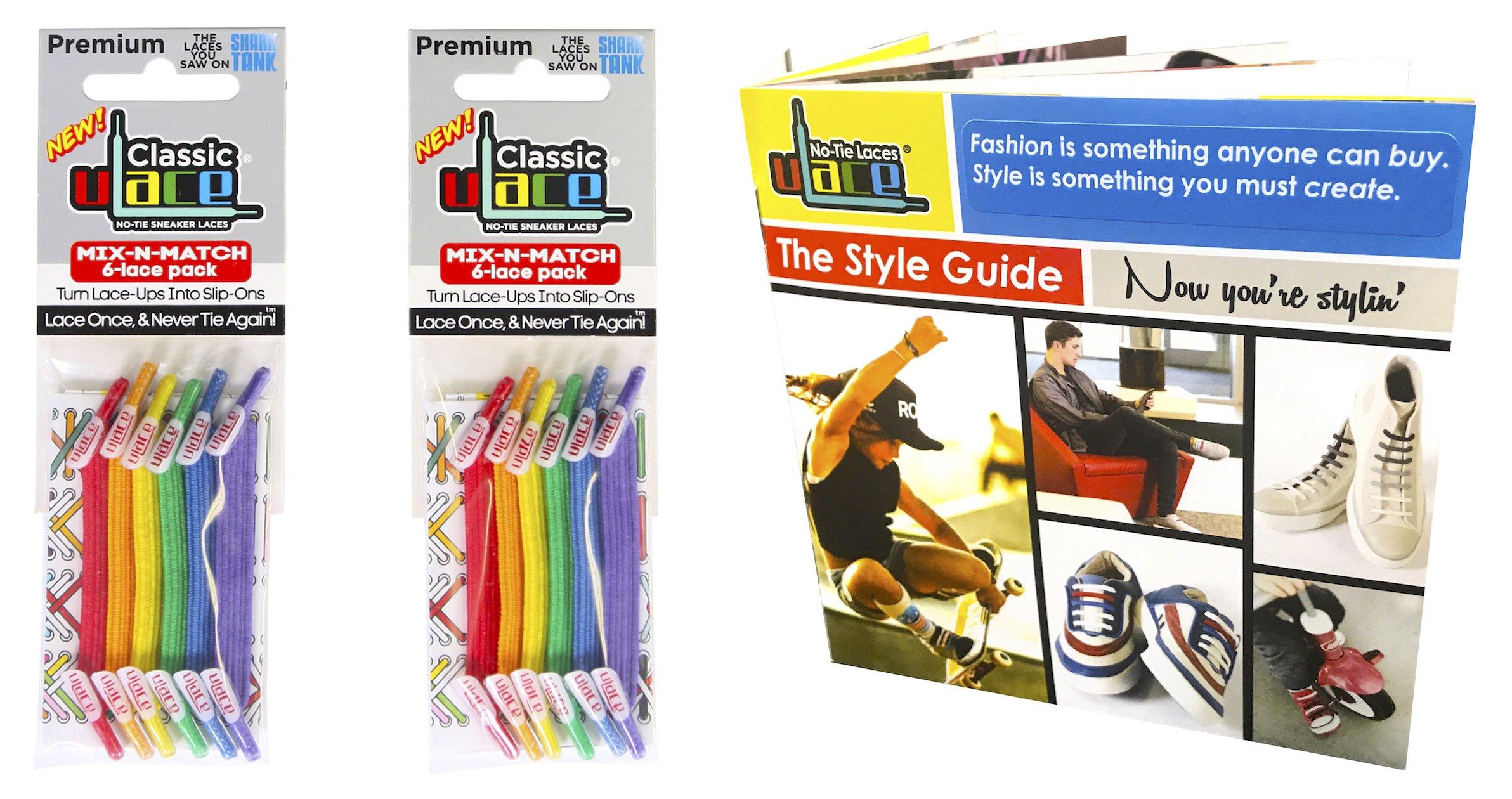 U-Lace Mix-n-Match Classic Bundles - 2 Pack & Style Guide (Rainbow)