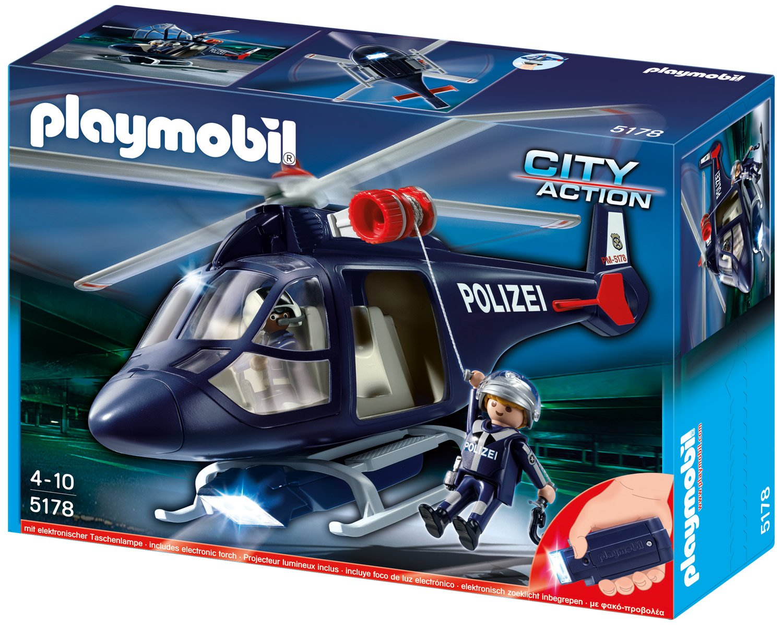 Playmobil 5178 - Polizeihubschrauber mit LED-Suchscheinwerfer Aufstellspielzeug / Zubehör und Ersatzteile Aufstellspielzeug aus Kunststoff / Zubehör und Ersatzteile