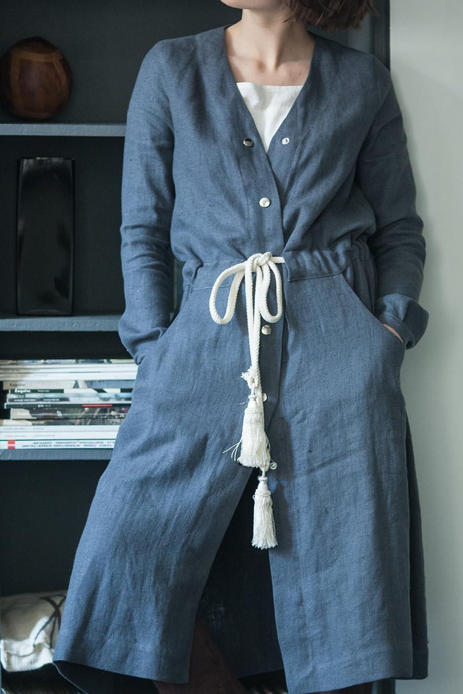 Dark Navy Blue Long Sleeve Classic Women Linen Robe Dress with Studs and Tassels