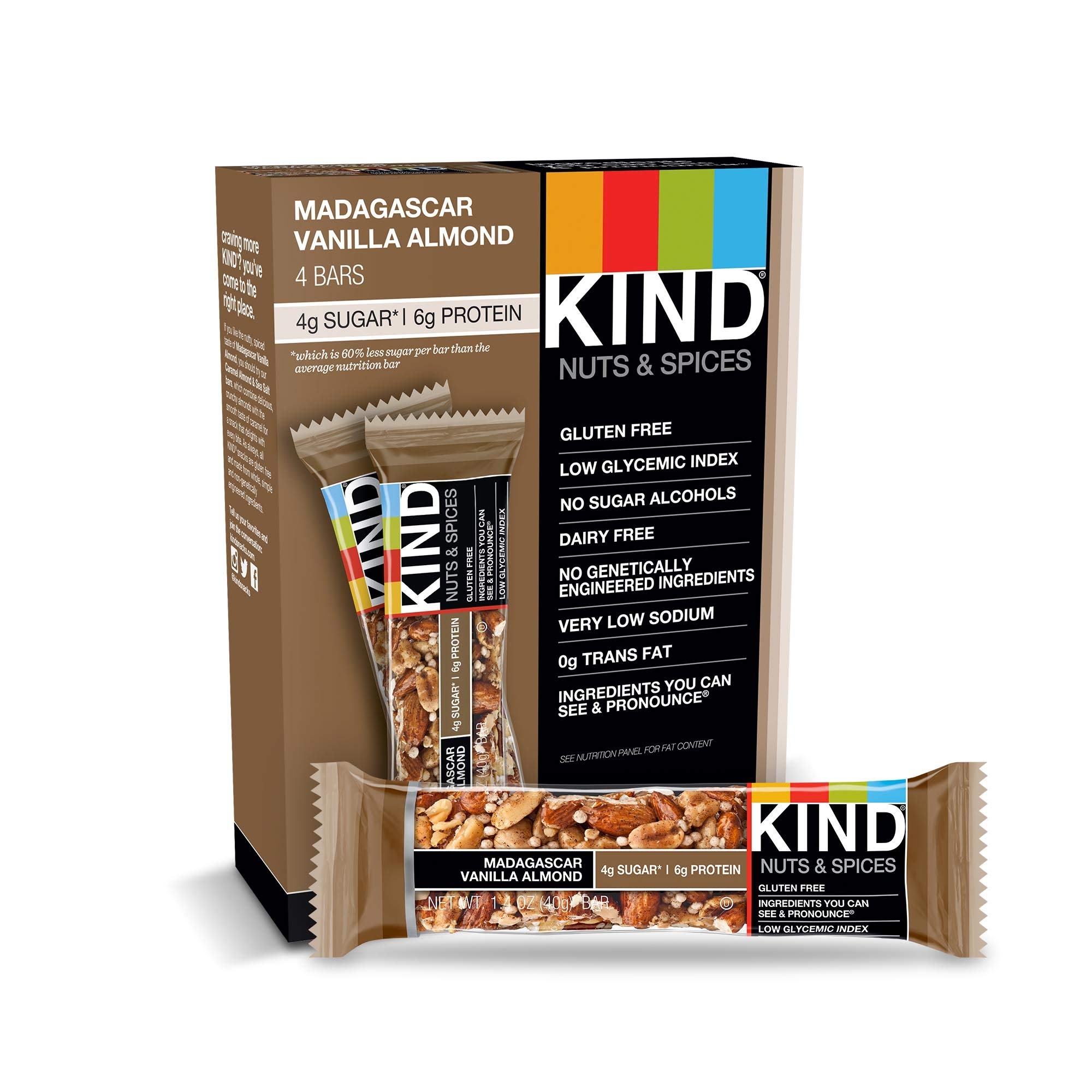 KIND Bars, Madagascar Vanilla Almond, Gluten Free, Low Sugar, 1.4oz, 48 Count by KIND