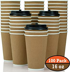 100 Pack 16 oz Disposable Coffee Cups with Lids - Fully Insulated Double Walled Paper Coffee Cups with Lids - to Go Coffee Cups Leak Proof - Microwaveable Hot Cups with Lids - to Go Cups FDA Approved