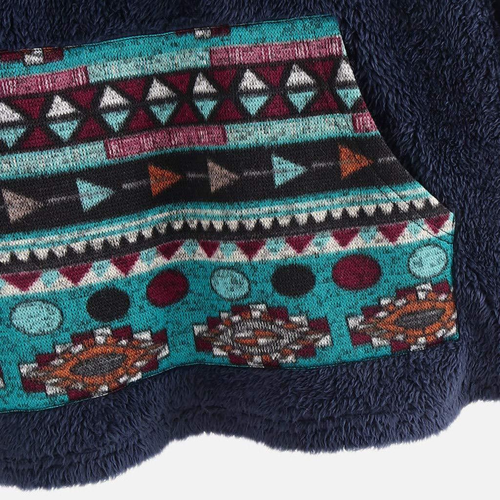 Toimothcn Womens Vintage Floral Printed Fleece Hooded Pullover Plus Size Loose Sweatshirts Sweater Hoodie