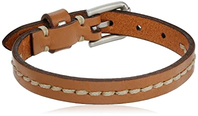Amazon Com Fossil Vintage Casual Stitched Leather Bracelet 9 5