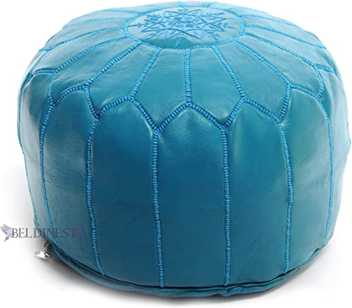 BeldiNest Moroccan Pouf Ottoman Leather Pouf Round Ottoman Leather Pouf, Perfect Home Ottoman Footrest Turquoise Leather Pouf