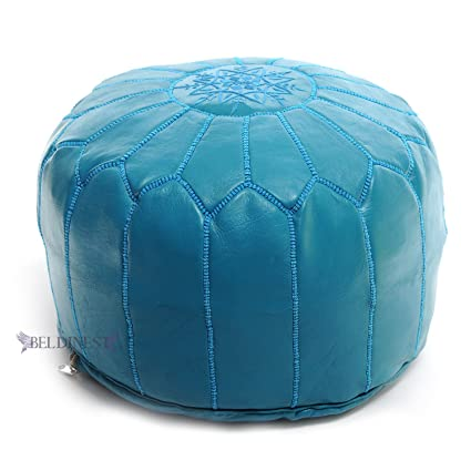 Amazon Stuffed Turquoise Moroccan Leather Pouf Handmade Ottoman Magnificent Turquoise Moroccan Pouf