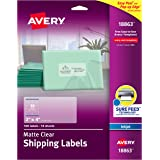 """Avery Clear Easy Peel Shipping Labels for Inkjet Printers 2"""" x 4"""", Pack of 100 (18863),White"""