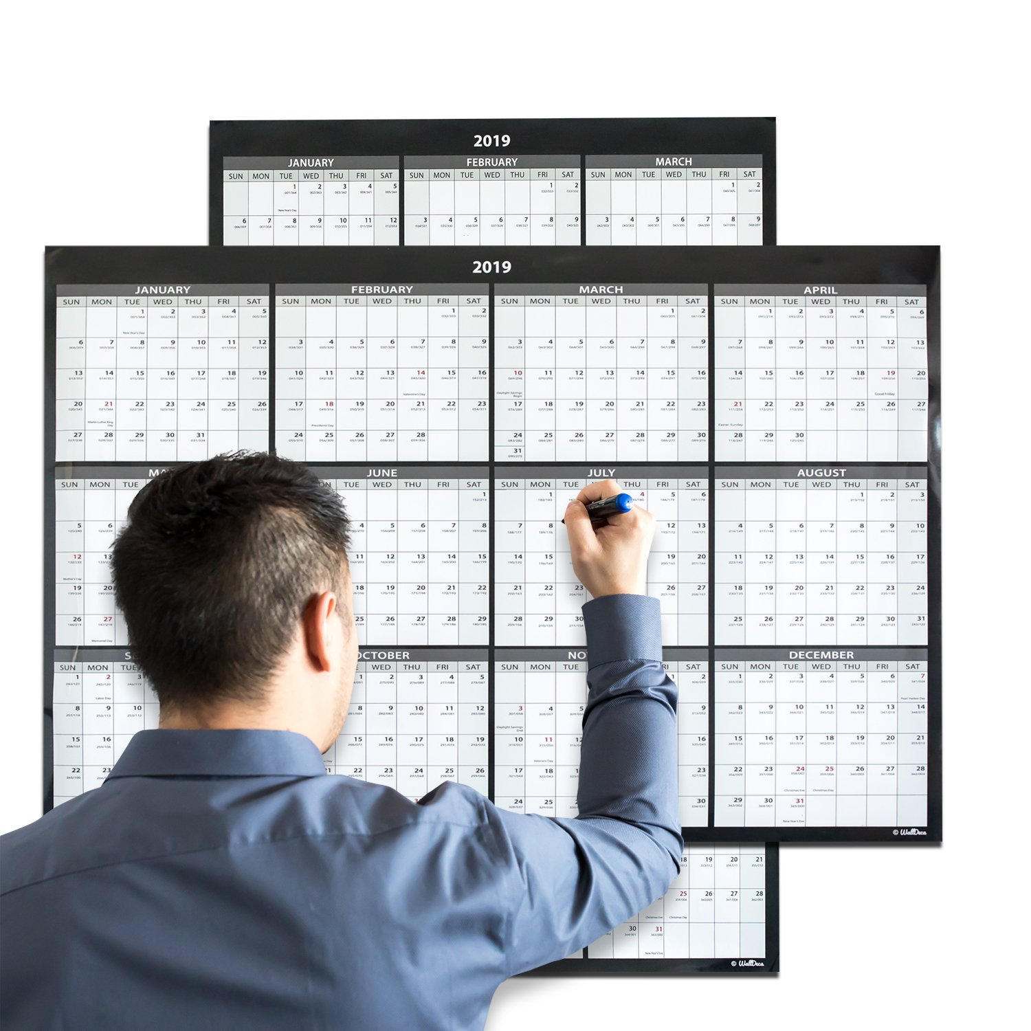 Large Annual Erasable Laminated Wall Calendar, 24 x 36 Inch, 2-Sided Reversible Vertical/Horizontal, Mounting Tape Included (Jan 2019 - Dec 2019)