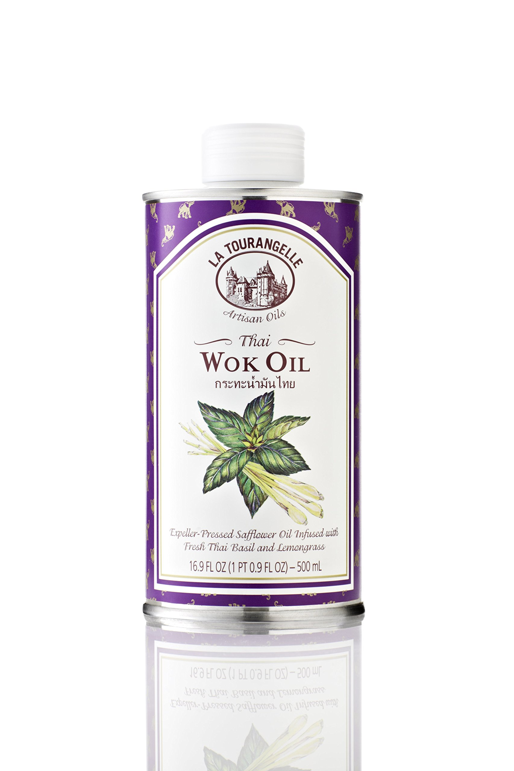 La Tourangelle Thai Wok Oil 16.9 Fl. Oz, Thai Basil and Lemongrass Infused Safflower Oil, Great for Stir-fry or Thai-Style Curry