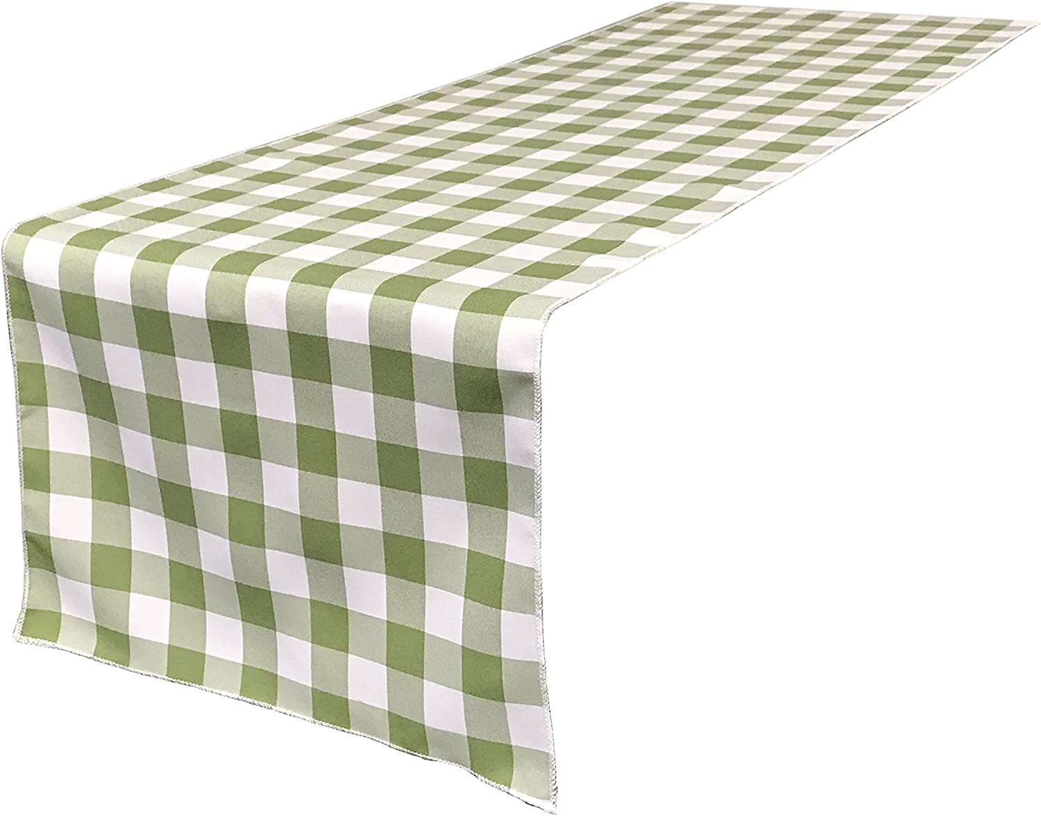 LA Linen Polyester Gingham Checkered 14 by 108-Inch Table Runner, Green, Apple/White