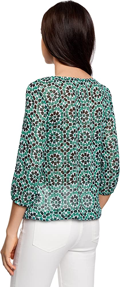 oodji Collection Mujer Blusa Estampada de Gasa, Verde, ES 46 / XXL: Amazon.es: Ropa y accesorios