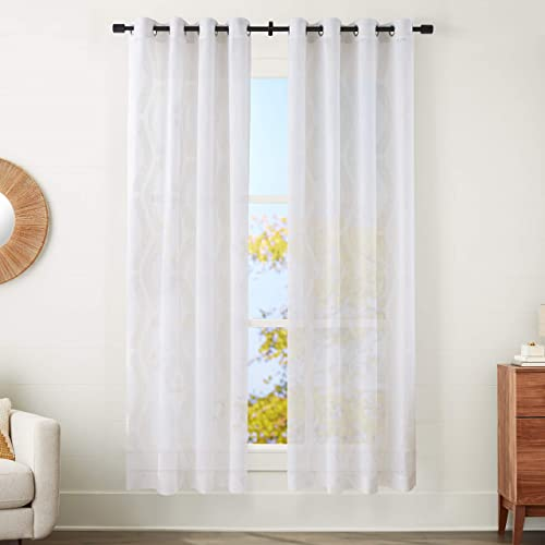 AmazonBasics Sheer Window Panel Pair with Grommets – 50 x 95 , Modern Linen-Look Geo Linen and Ivory