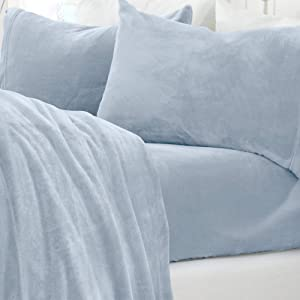 Micro Fleece Extra Soft Cozy Velvet Plush Solid Sheet Set. Deluxe Bed Sheets with Deep Pockets. Velvet Luxe Collection (Queen, Pearl Blue)