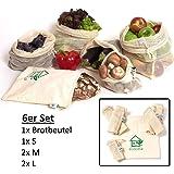 Obst- und Gemüsebeutel Einkaufstaschen mit Brotbeutel von ecocasa aus GOTS Bio Baumwolle – plastikfrei - wiederverwendbar - Shopper Netz 6er SET aus 1x S, 2x M, 2x L, 1x Stoffbeutel