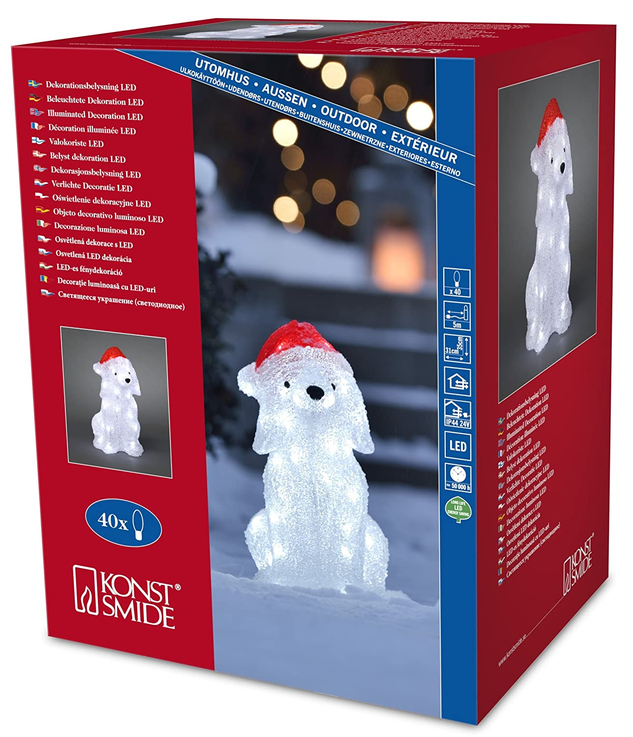 Konstsmide 6182 203 Led Acrylic Decoration Dog With Santa Hat Outdoor Ip44 40 Ice White Leds Transparent Cable