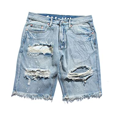 de1654baca Frozac Ripped Destroyed Distressed Denim Shorts 2018 Mens Hole Jeans Shorts  Blue Hip Hop Casual Dot Jean at Amazon Men s Clothing store