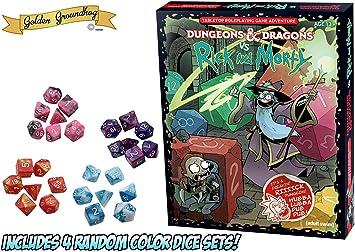 Golden Groundhog! Dungeons and Dragons vs. Rick & Morty (juego de rol de mesa D&D) con 4 juegos aleatorios de 7 dados: Amazon.es: Juguetes y juegos