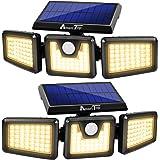 Solar Lights Outdoor -2 Pack, AmeriTop 800LM Wireless 128 LED Solar Motion Sensor Lights Outdoor; 3 Adjustable Heads, 270° Wi