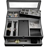 Valet Tray for Men  Sleek Dresser-Organizer Box for Storage & Display  Perfect for Phone, Watches, Sunglasses, Jewelry, Walle