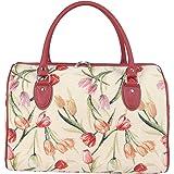Signare Tapestry Travel Bag / Weekender / Overnight Bag, Tulip White
