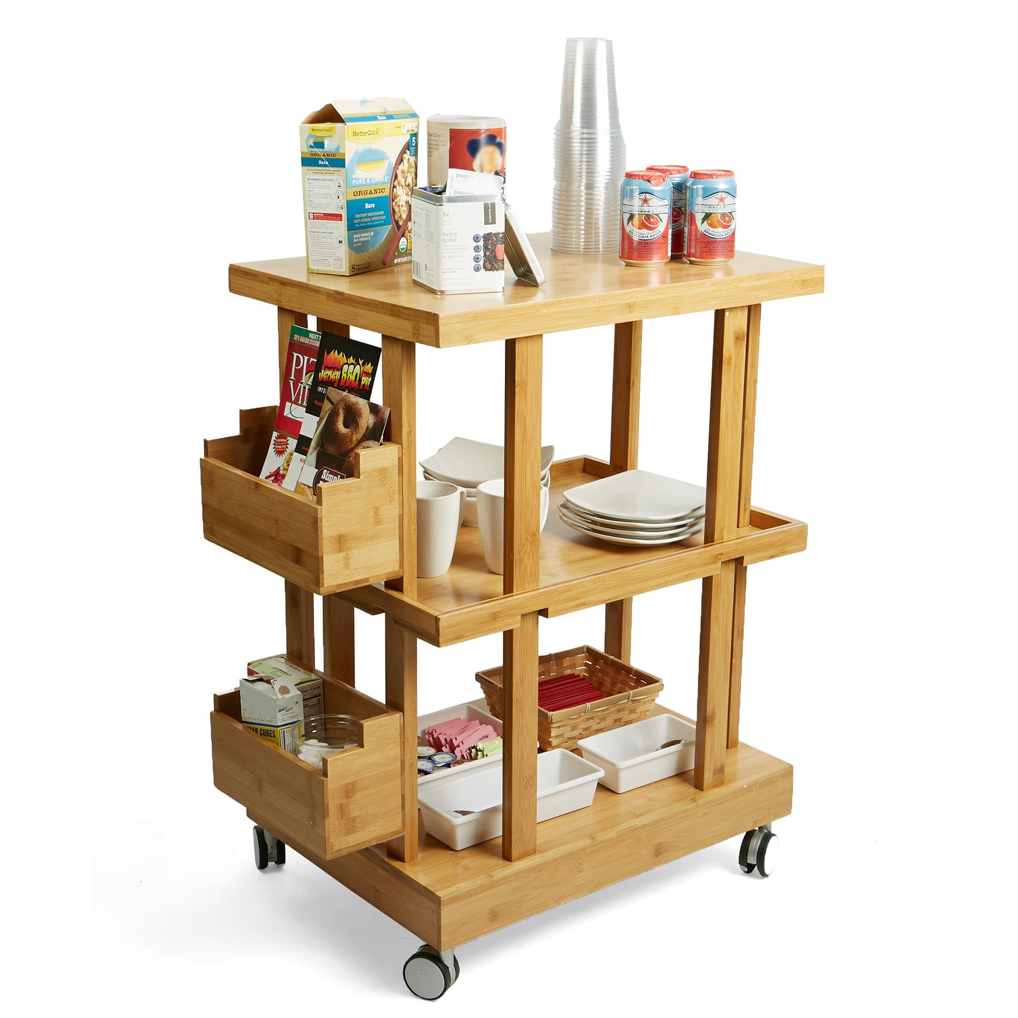 Mind Reader 3-Tier Kitchen Utility Cart with 2 Storage Compartments, Bamboo Wood, Brown by Mind Reader (Image #3)