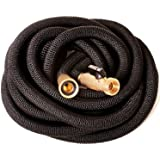 Riemex Expandable Hose 25 FT Black [New 2021] Heavy Duty Garden Water Hose - Triple Latex - Expanding Solid Brass Metal Fitti
