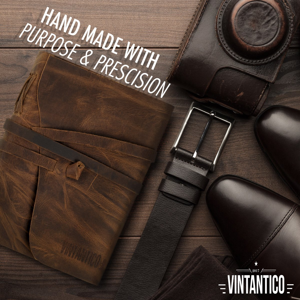 Vintantico Genuine Leather Journal with Writing Pen (Brown) Vintage, Bound, Handmade Cover Recycled Unlined Paper   Men's & Women's Personal Notepad   Incl. Bookmark, Gift Box by Vintantico (Image #7)