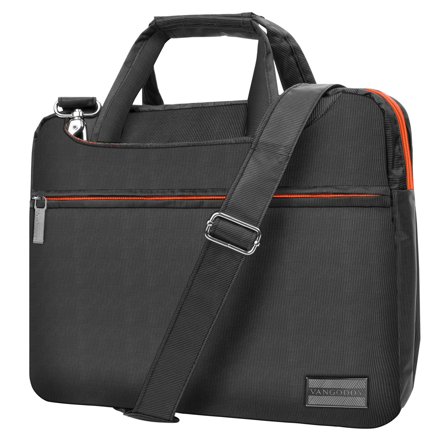 VanGoddy NineO 15 3-in-1 Water Resistant Nylon Messenger Shoulder Bag Briefcase (Gray/Orange) for Dell Inspiron 14 15 / Latitude 14 15 / Precision Mobile Workstation/XPS 15 Series 14'' 15.6'' Laptop by Vangoddy (Image #5)