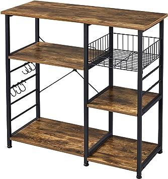 topeakmart 3 tier kitchen baker rack microwave oven rack stand storage cart utility workstation shelf rustic brown