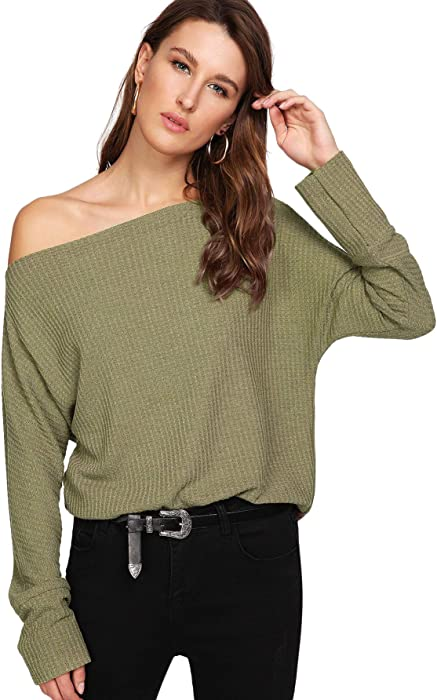 934638643754bb WDIRARA Women's One Shoulder Solid Sweater Pullover Long Sleeve Knit Jumper  Top Army Green S