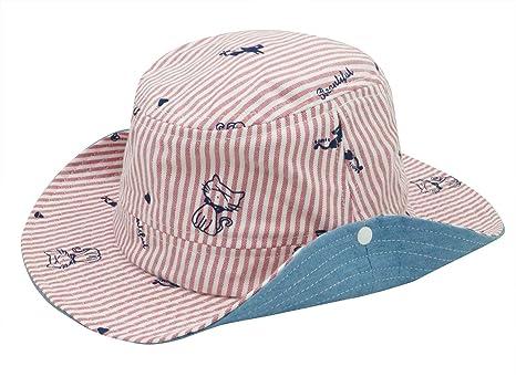 c6b2fc640ff Bébé Fille Chapeau de Soleil avec Mentonnière Cordon Bonnet Unisex Anti UV  en Coton Eté pour