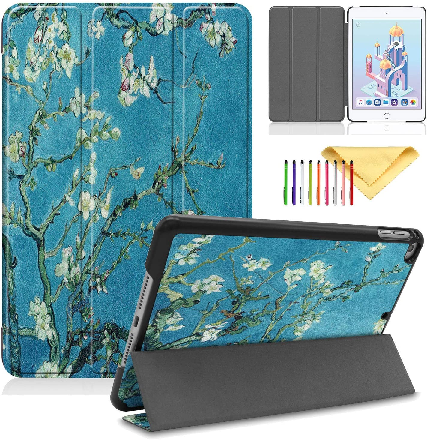 "New iPad Mini 5 Case 2019 (A2133 / A2124 / A2126), Cookk Lightweight Slim Trifold Stand Skin with Auto Sleep/Wake Hard Back Cover for Apple iPad Mini 5th Generation Latest Model 7.9"", Apricot Flower"