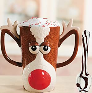 Christmas Mug Reindeer Face, Ceramic 16oz - With Candy Cane Spoon, Holiday Beverage Drinking Coffee Mugs - Great Gift Idea, Hot Cocoa Gift Supplies by 4E's Novelty