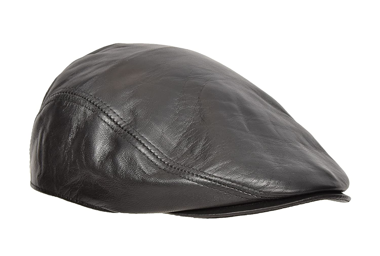 Real Soft Leather Flat Cap Cabbie Gatsby Hunting Peaked Newsboy Hat Black