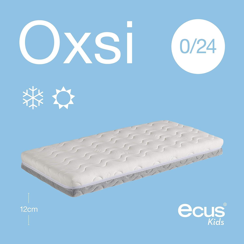 Ecus Kids OXSI Oxígena HR – Materasso da culla con cerniera perimetrale, lato antiasfissia e invernale 117cm x 57cm bianco e grigio Prezzi offerte