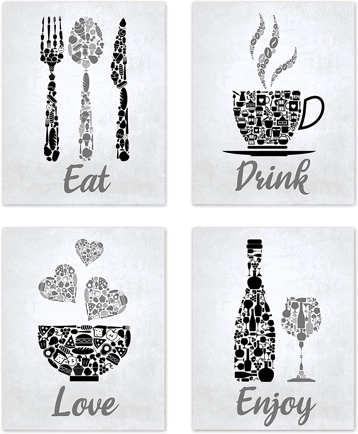 "Black Grey White Mosaic Vintage Inspirational Kitchen Restaurant Cafe Bar Wall Art Decorations Eat Drink Love Wine Coffee Hearts Prints Posters Signs Sets for Rustic Farmhouse Country Home Dining Room House Decor Funny Sayings Quotes Unframed 8""x10"""