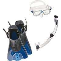 Cressi Palau Mask Fin Snorkel Set with Snorkeling Gear Bag, Blue, L/XL | (Men's 10-13) (Women's 11-14)