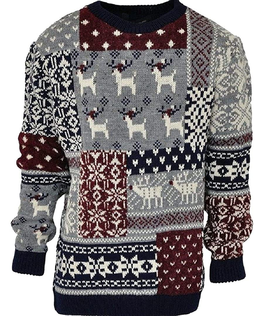 Boys Sweater Traditional Nordic Grey Multi Knitted Snowflake Reindeer Xmas Jumper 5-8yrs