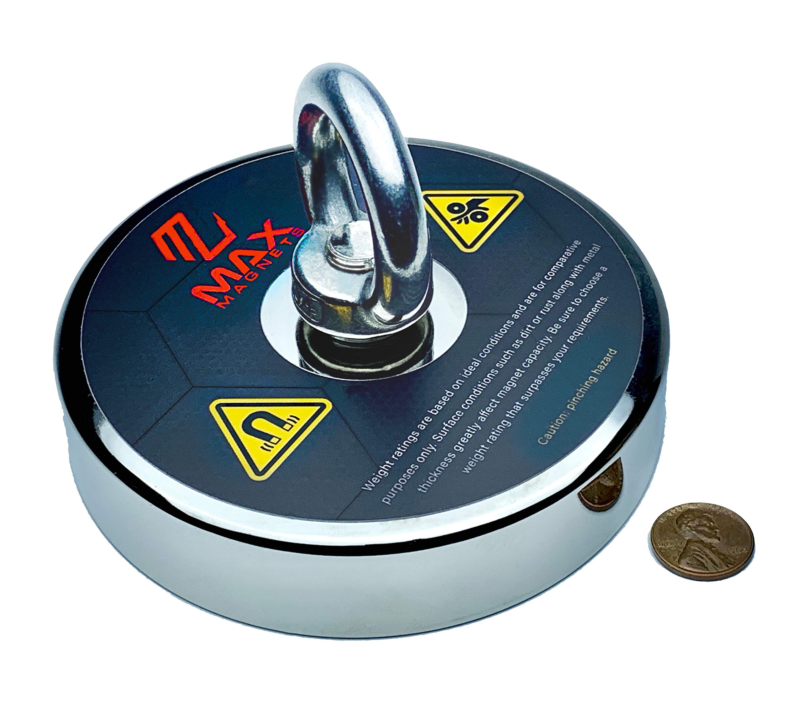 1,300+ LBS Pulling Force MaxMagnets Extreme Neodymium Fishing Magnet with Eyebolt, 4.72 Inch Diameter.