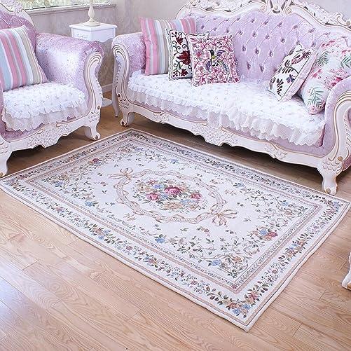 Ukeler Luxury Soft Rustic Floral Area Rugs Washable Elegant Non Slip Accent Floor Rugs Carpet
