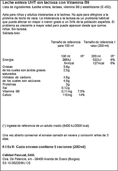 Pascual Leche Sin Lactosa Entera - Paquete de 6 x 1 l - Total ...