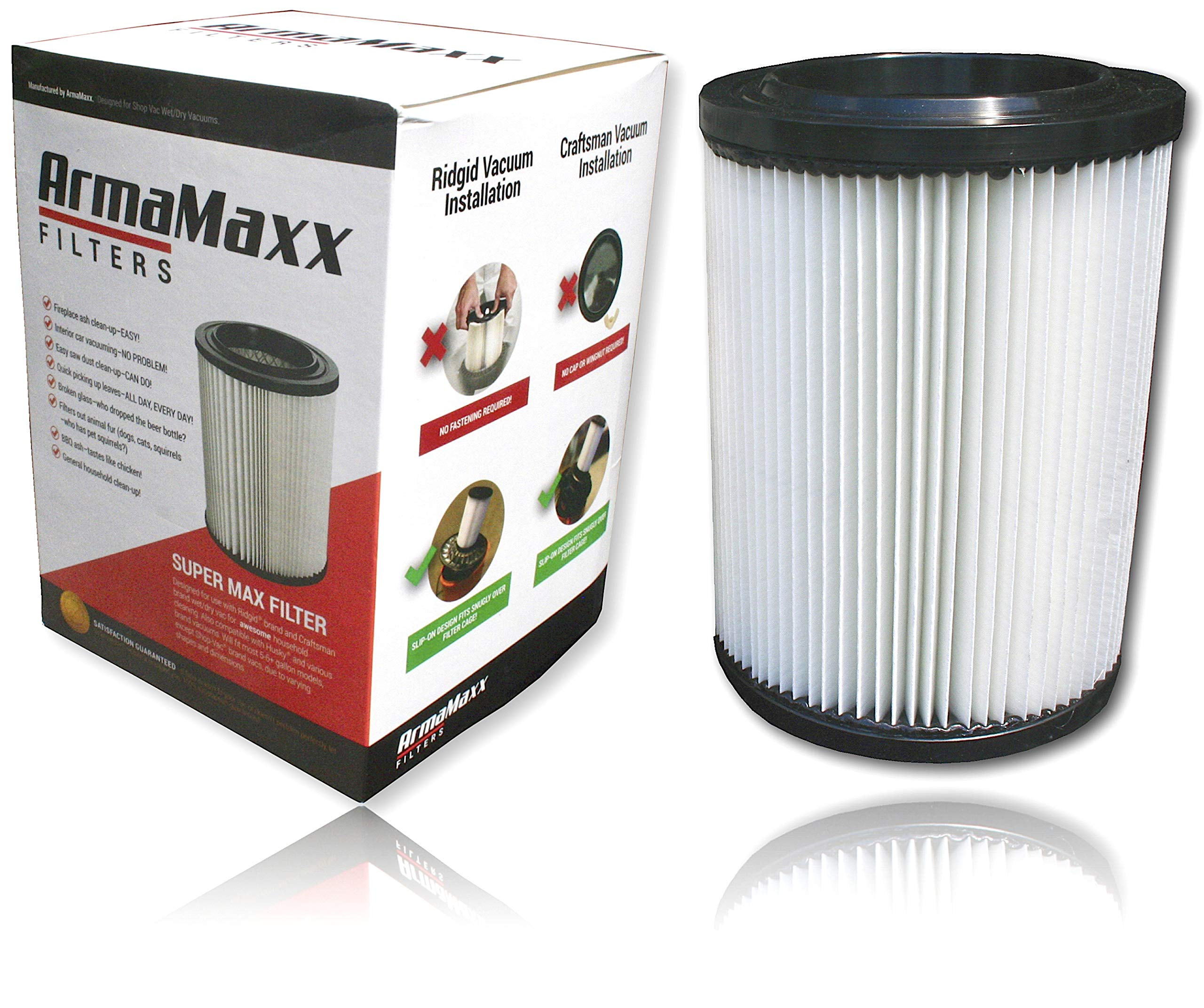 Premium Shop Vac Filter 917816, Supermax Ridgid Craftsman 17816 Vacuum Replacement - 17907 Pleated 3-Layer - 5 Gallon and Up vf 5000 vf 6000 Filters Not Hepa- Easy Cleaning of Ash, Sawdust, Glass by Super Filters